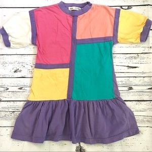 Vintage 1980's color block cotton ruffle dress